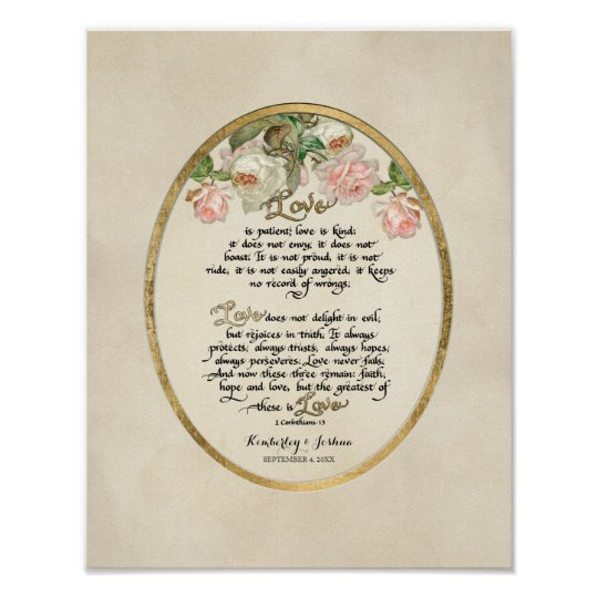 1 Corinthians 13 Wedding Invitations: The Love Chapter, 1 Corinthians 13 Calligraphy Poster