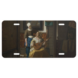 The Love Letter by Johannes Vermeer License Plate