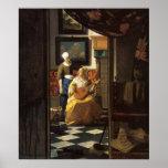 The love letter by Johannes Vermeer Poster