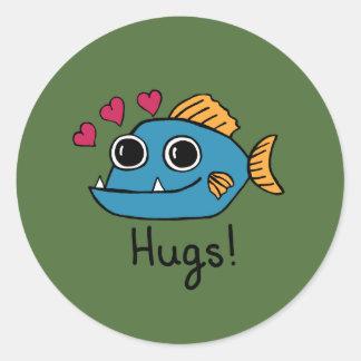 The Love Piranha Round Glossy Stickers