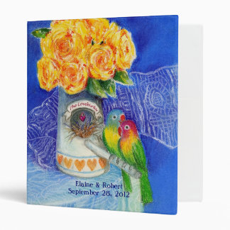 The Lovebirds with Yellow Roses Binder