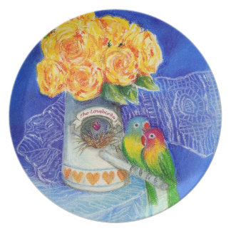 The Lovebirds with Yellow Roses Party Plates