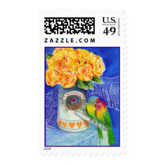 The Lovebirds with Yellow Roses Postage Stamps