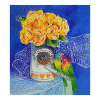 The Lovebirds with Yellow Roses Poster
