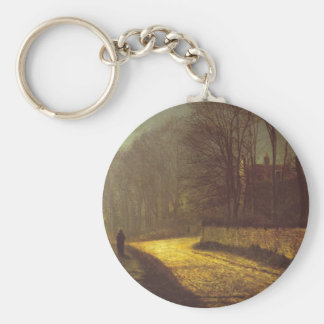 The Lovers by John Atkinson Grimshaw Basic Round Button Keychain