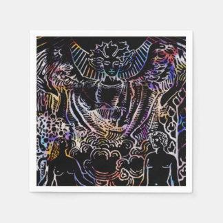 The Lovers Tarot Card Black Paper Napkin