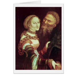 The Lovesick Old Man, 1553 (oil on panel) Greeting Card