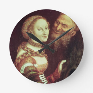 The Lovesick Old Man, 1553 (oil on panel) Round Wall Clocks