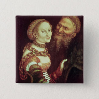 The Lovesick Old Man, 1553 (oil on panel) Pinback Button