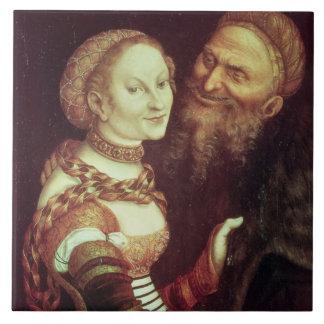 The Lovesick Old Man, 1553 (oil on panel) Large Square Tile