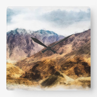 The lower hills of the mighty Himalayas Square Wall Clock
