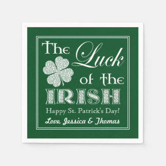 The Luck of the Irish St Patrick's Day Napkin Personalize