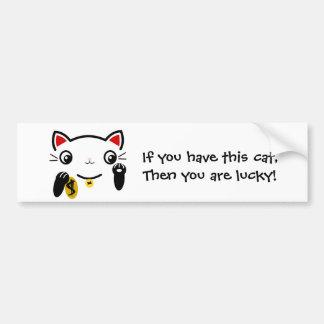 """""""The lucky cat"""" Car Bumper Sticker"""
