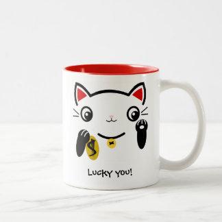The lucky cat Two-Tone coffee mug
