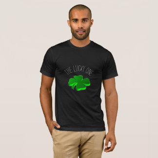 The Lucky One Typography Green Clovers Funny T-Shirt