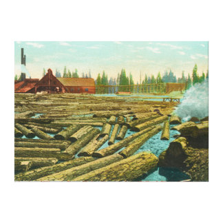 The Lumber Mill and Dam, River filled with Canvas Print