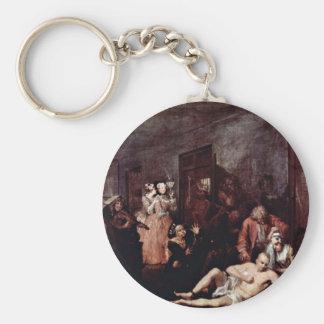 "The Lunatic Asylum "" By Hogarth William Basic Round Button Keychain"