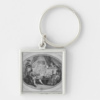 The Luncheon at Ferney, 4th July 1775 Silver-Colored Square Keychain