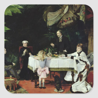 The Luncheon in the Conservatory, 1877 Square Sticker