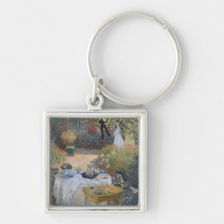 The Luncheon: Monet's garden at Argenteuil Silver-Colored Square Keychain