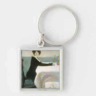 The Luncheon Silver-Colored Square Keychain