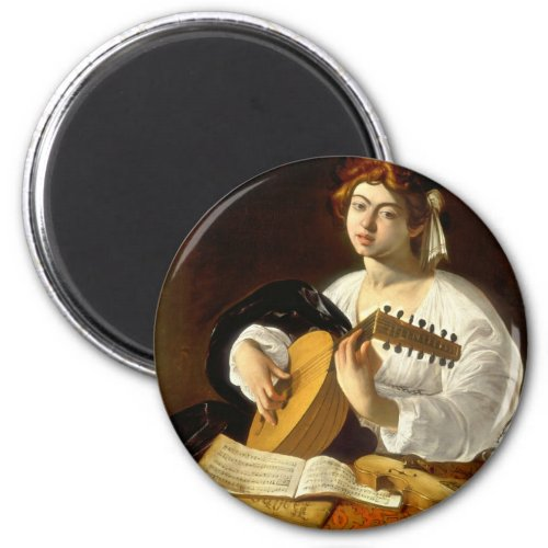 Italian Baroque Master Caravaggio The Lute Player 2-inch Round Magnet