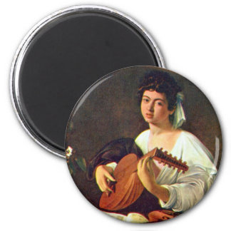 The Lute Player 2 Inch Round Magnet