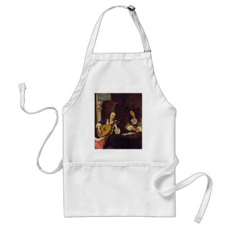 The Lute Player By Borch D. J. Gerard Ter Adult Apron