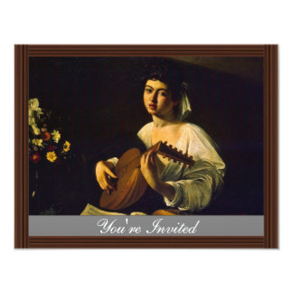 The Lute Player By Michelangelo Merisi Da Caravagg Personalized Invitations