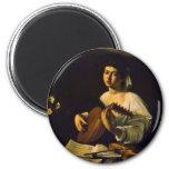 The Lute Player By Michelangelo Merisi Da Caravagg Fridge Magnet