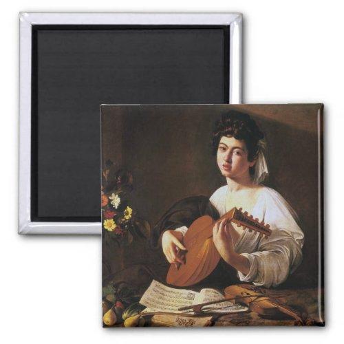 The Lute Player by Michelangelo Merisi da Caravaggio 2-inch Square Magnet