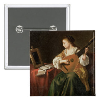 The Lute Player (oil on panel) Button