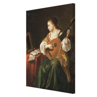 The Lute Player (oil on panel) Canvas Print