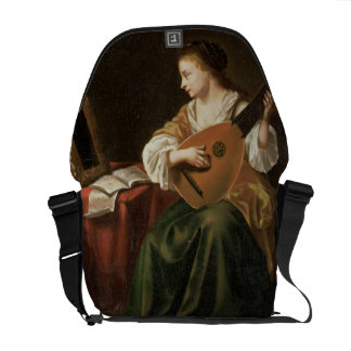 The Lute Player (oil on panel) Messenger Bag
