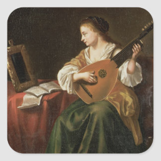 The Lute Player (oil on panel) Square Sticker