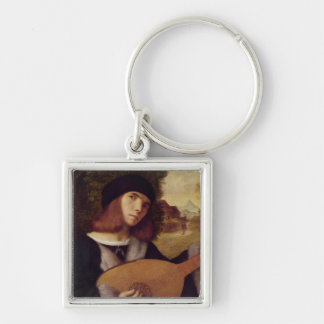 The Lute Player Silver-Colored Square Keychain
