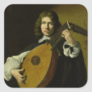 The Lute-Player Square Sticker
