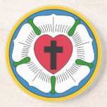 """The Luther Rose Lutheranism Martin Luther Drink Coaster<br><div class=""""desc"""">Lutheranism is a major branch of Western Christianity that identifies with the theology of Martin Luther, a German reformer. Luther&#39;s efforts to reform the theology and practice of the church launched the Protestant Reformation. Beginning with the 95 Theses, Luther&#39;s writings disseminated internationally, spreading the ideas of the Reformation beyond the...</div>"""