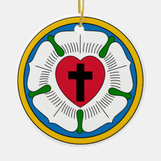 The Luther Rose Lutheranism Martin Luther Double-Sided Ceramic Round Christmas Ornament