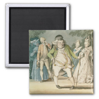 The Macaroni, 1774 (w/c on paper) 2 Inch Square Magnet
