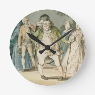 The Macaroni, 1774 (w/c on paper) Round Clock
