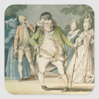The Macaroni, 1774 (w/c on paper) Square Sticker