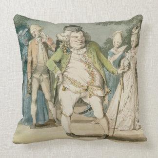 The Macaroni, 1774 (w/c on paper) Throw Pillow