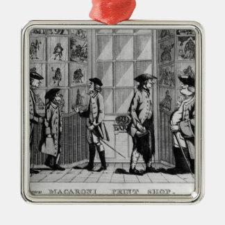 The Macaroni Print Shop, pub. by N. Darley Metal Ornament