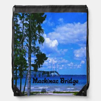 The Mackinac Bridge Drawstring Backpack