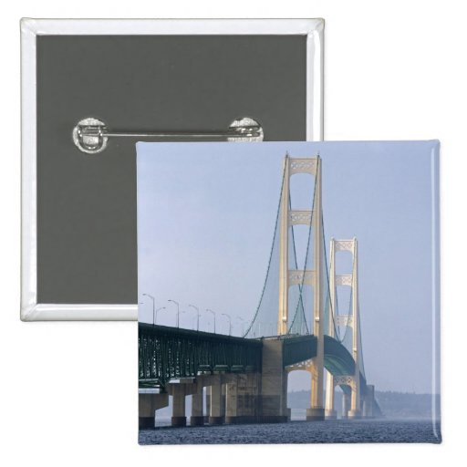 The Mackinac Bridge spanning the Straits of 2 Inch Square Button