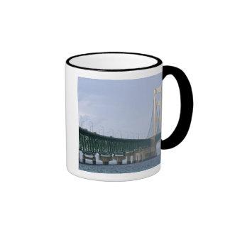 The Mackinac Bridge spanning the Straits of 2 Ringer Coffee Mug