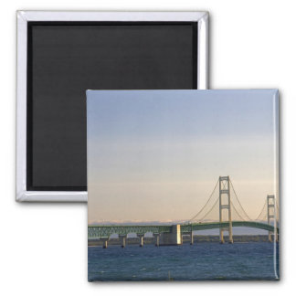 The Mackinac Bridge spanning the Straits of 3 2 Inch Square Magnet