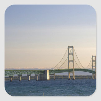 The Mackinac Bridge spanning the Straits of 3 Square Sticker