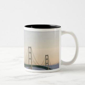 The Mackinac Bridge spanning the Straits of 3 Two-Tone Coffee Mug